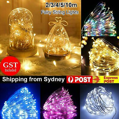 2/3/4/5/10M Battery Operated Lights LED Micro Silver Wire Waterproof Fairy Xmas