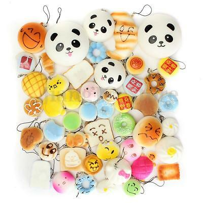 30Pcs Kawaii Jumbo Squishy Lot Toast Bread Smell Cell Phone Strap Panda Bun Kit
