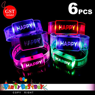 6X LED Bracelet Colour Wristband Flashing Light Party Blinking Glow in the dark