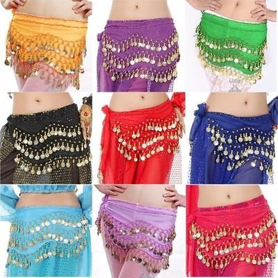 Lovey Chiffon India Belly Dance Hip Scarf 3 Rows Gold Coin Chain Belt Skirt