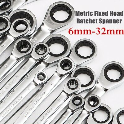 6mm-32mm Steel Metric Fixed Head Ratchet Spanner Gear Wrench Hand Nut Tools