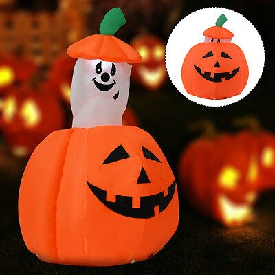 1.2m Retractable Inflatable Pumpkin Halloween Decoration Light Up Imp Ghost