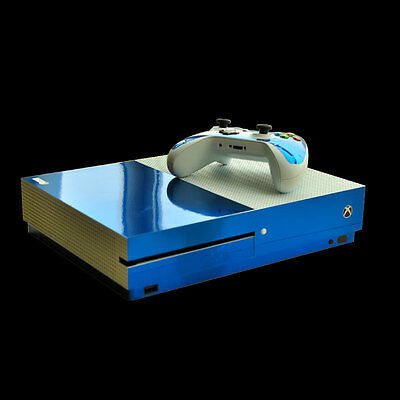 Blue Glossy Body Sticker Decal Skin for Microsoft Xbox One S Console&Controllers