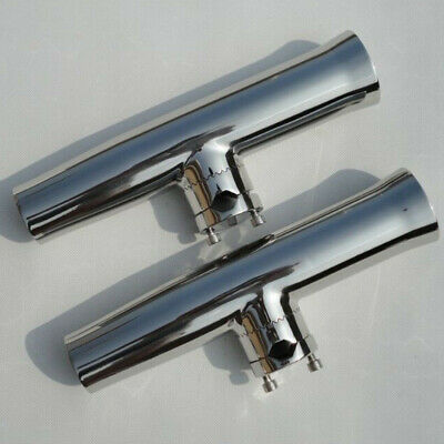 """2 Pieces Tournament Style Stainless Steel Clamp Fishing Rod Holder 1""""-1-1/4"""" AU"""