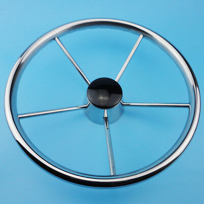 Newly 5 Spoke 13-1/2'' Stainless Steel Boat Marine Steering Wheel Free Shipping