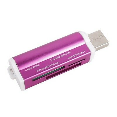 lecteur usb 2.0 multi carte mémoire : Micro SD / TF M2 MMC SDHC MS Duo - VIOLET