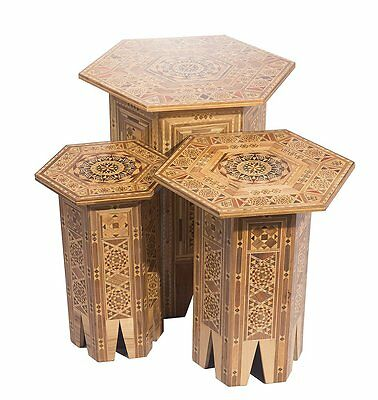A Set Of Three SYRIAN Moorish Octagonal Wood Tables Inlaid With mother of pearl