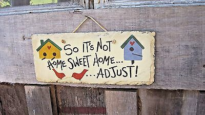 Vintage Hand Painted Slate Roof Tile Humorous Antique Home & Garden Sign