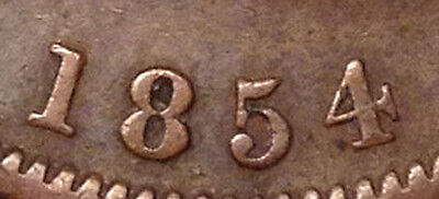 1854 Br. 719 Upper Canada One Penny Crosslet 4 Variety Scarce Penny Great Coin !