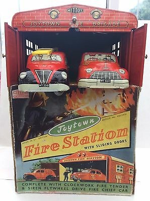 Mettoy tinplate Joytown Fire Station 1950's Boxed