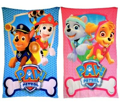 Paw Patrol Skye Or Chase Fleece Blanket Childrens Kids Official Bed Throw