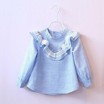 Cute lace stripe shirt blouse baby toddler girl autumn casual blouse tops