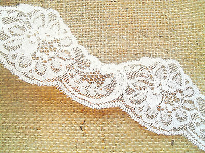 "Pretty Ivory Nottingham Cut-Out Lace Trim 2""/5cm Craft/Card/Baby/Cot/Scrapbook"