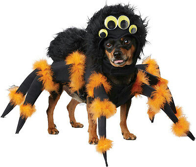 Black Scary Furry Spider Pup Dog Pet Costume Size Large