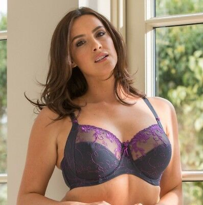 Pour Moi? Imogen Rose 3804 Embroidered Full Cup Bra Slate/Purple 32-44 D to J