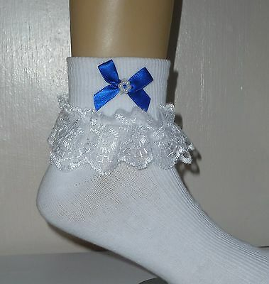 """Girls White Frilly Lace Socks Size Lots Of Sizes Royal Blue Bow """""""""""""""""""""""""""""""""""""""""""""""""""""""""""""""""""