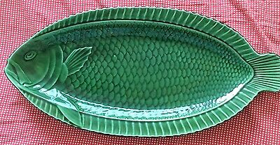 Large Sarreguemines French Majolica Green Fish Platter