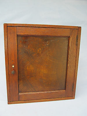 Antique/Vintage small wood Medical Cabinet w/ Burled walnut door