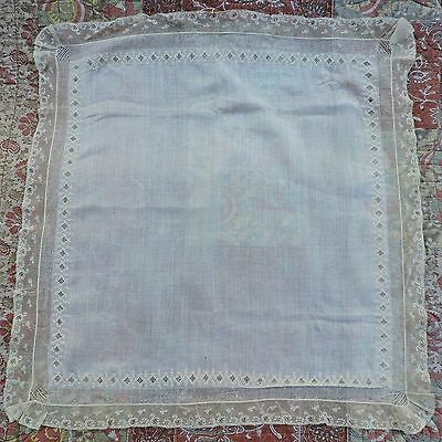 Early 19Th C Ayrshire Embroidered White Work Handkerchief