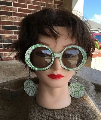 Man From U.N.C.L.E. Spy Girl Vintage Sunglasses, Earrings on Chain, Green Splash