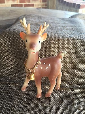 """Vintage Plastic Poseable Moveable Neck Reindeer,Jingle Bell on Chain Collar, 4"""""""