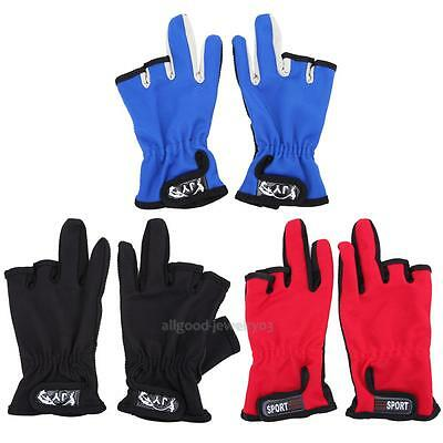 Anti Slip Slip-resistant 3 Low-Cut Fingers Fishing Gloves Tackle