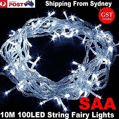 SAA 10M 100LED Bright White Cool String Fairy Lights Wedding Party Christmas Doc