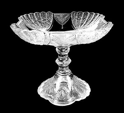 Tall Antique Eapg Early American Pressed Glass Shell & Tassel Compote Duncan