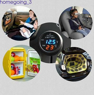 3 in 1 Mini Multifunctional Vehicle Car LCD Voltmeter Thermomenter USB Charger