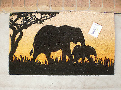 Elephant & Baby - Natural Coir on PVC Backing Door Mat