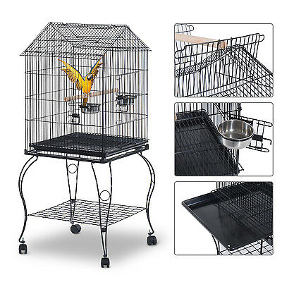 PawHut Bird Cage Pet Parrot Macaw Stand Feeder House Perch Supply Open Play Top