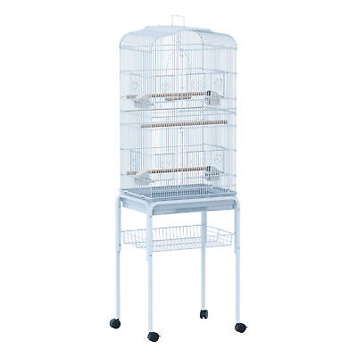 PawHut Bird Cage Large Parrot 160cm Finch Breeding Tray Stand Wheels Pet White