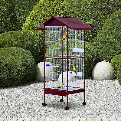 Pawhut Parrot Bird Cage Rolling Cockatiels Aviary Finch Perch Feeder Pet w/Stand