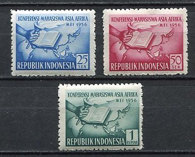 38140) INDONESIA 1956 MNH** Asia-Africa Student Conf. 3v.