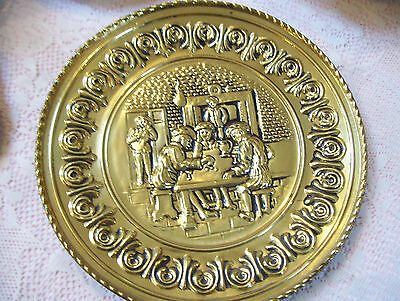 Vintage Brass Tin Gold Color Decorative Wall Hanging Plate 12""