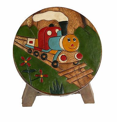 Childs/Childrens/Kids Wooden Stool - Train with Face