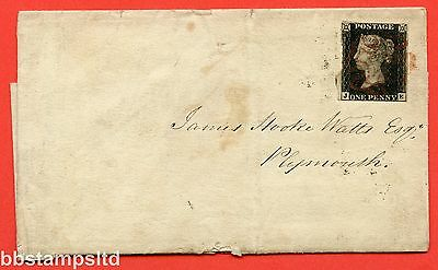 "SG. 2 c. A1 (2) h. AS46. "" JE "". 1d black. Plate 8. A fine used example on cover"