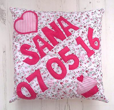 GIRLS Pink PERSONALISED Name Date Cushion Christening Present Birthday baby Gift