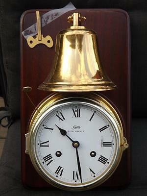 Amazing Schatz Royal Mariner Brass Ships Bell Clock Mounted w Key Tested EXC