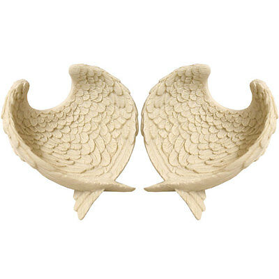 New Pair Set Of 2 White Decorative Angel Wings Bowls Heart Shape Trinket Dish Sd