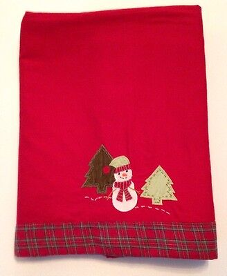 Pottery Barn Red Snowman Christmas Holiday Table Cloth Plaid Boarder Snowflake