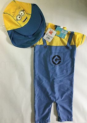 Baby Boy Light Blue/Yellow Sunsuit + Hat with Neck Protection in Minion detail