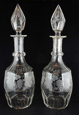 Pair of Antique Crystal Decanters Grapevine Motif Faceted Ring Neck
