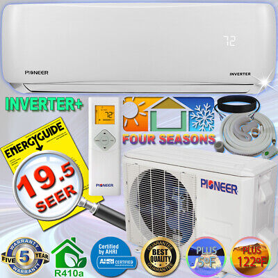 PIONEER 9000 BTU 17 SEER Inverter+ Ductless Mini Split Heat Pump, 120V, 10' Kit