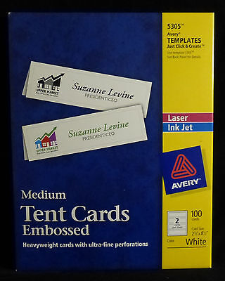 AVERY 5305 Medium Heavyweight TENT CARDS Embossed - 100 Cards / Inkjet or Laser