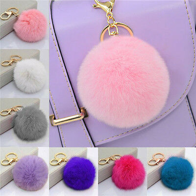 Rabbit Fur Ball PomPom Cell Phone Car Keychain Pendant Handbag Cute Key Ring LAN