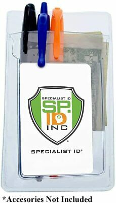 5 Pack - Heavy Duty Pocket Protector with Vertical Badge Holder by Specialist ID