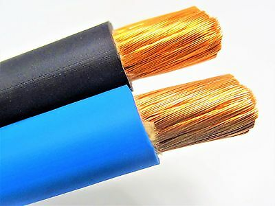 50' 2/0 Welding Battery Cable 25' Black 25' Blue 600V Usa Epdm Heavy Duty Copper