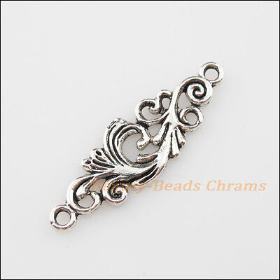 6Pcs Tibetan Silver Tone Clouds Flower Charms Pendants Connectors 11x35mm
