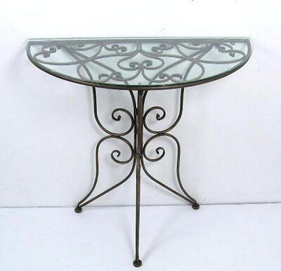 Side Table Half-round Iron Wall bracket table with Glass plate Console Metal